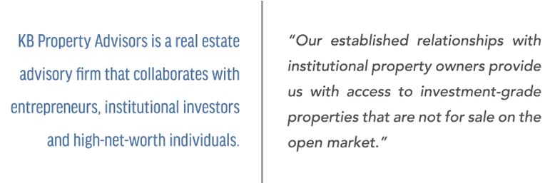KB Property Advisors is a real estate advisory firm that collaborates with institutional investors and entrepreneurs.